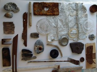 A collect of objects found on the beach at Eastbourne