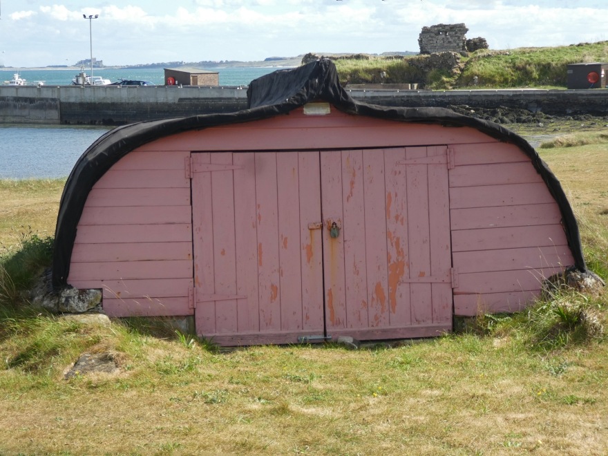 The pink boat house Lindisfarne