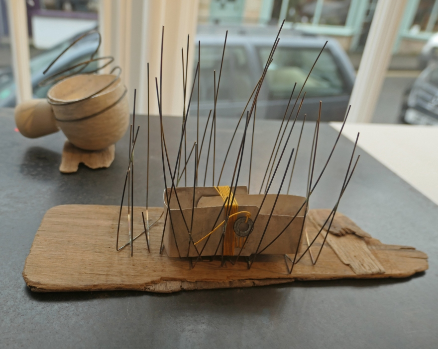 SC - Bound and left vessel 2 - silver, stainless stell wire, linen thread, driftwood, rose thorn and washer