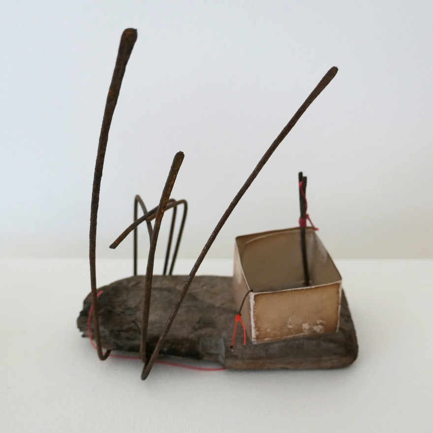 SC Wetlands Vessel - iron wire, driftwood, oxidised silver, bobby pin, fishhook