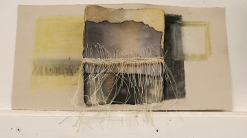 Paper dyed with oak gall ink and combined with weaving